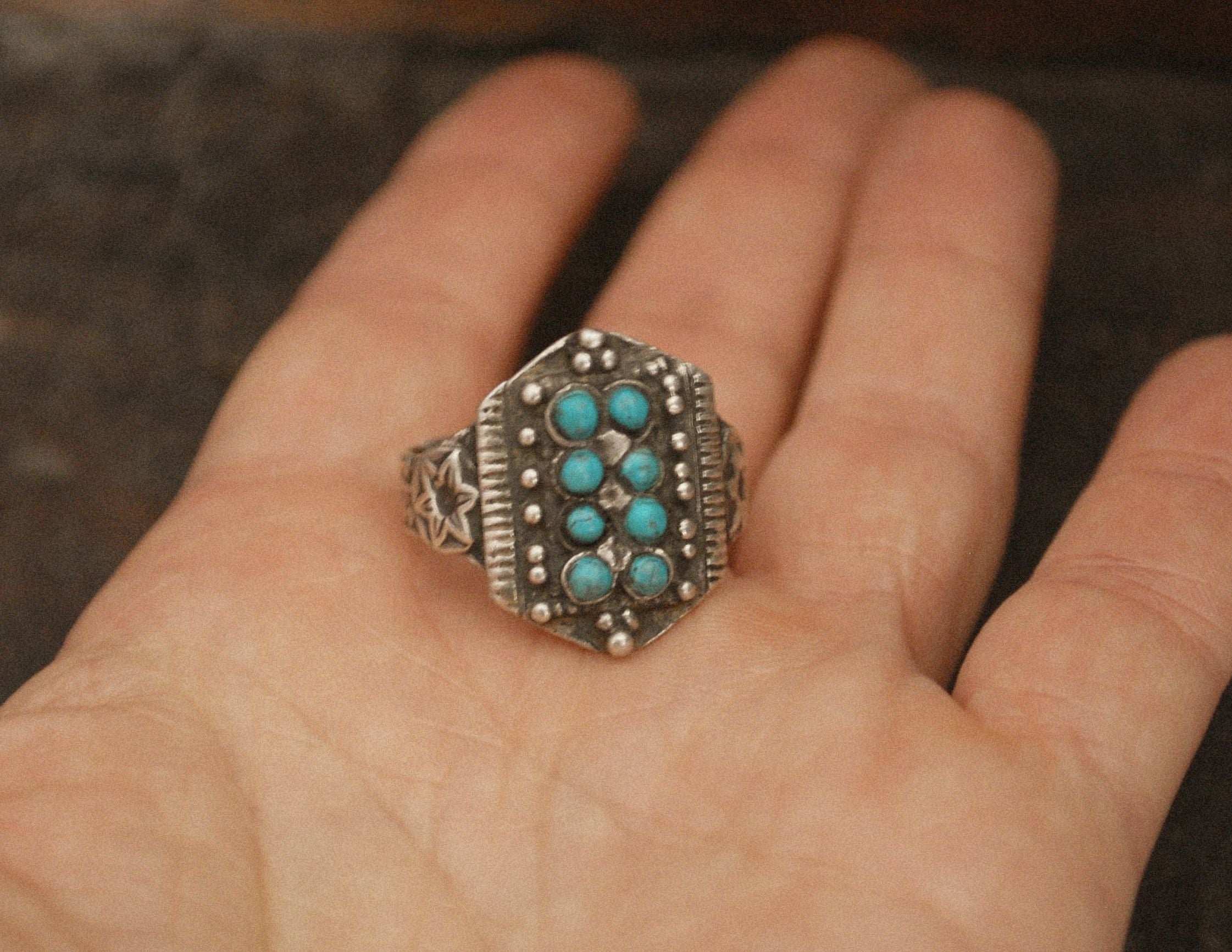 Antique Afghani Silver Ring with Turquoises - Size 8.5