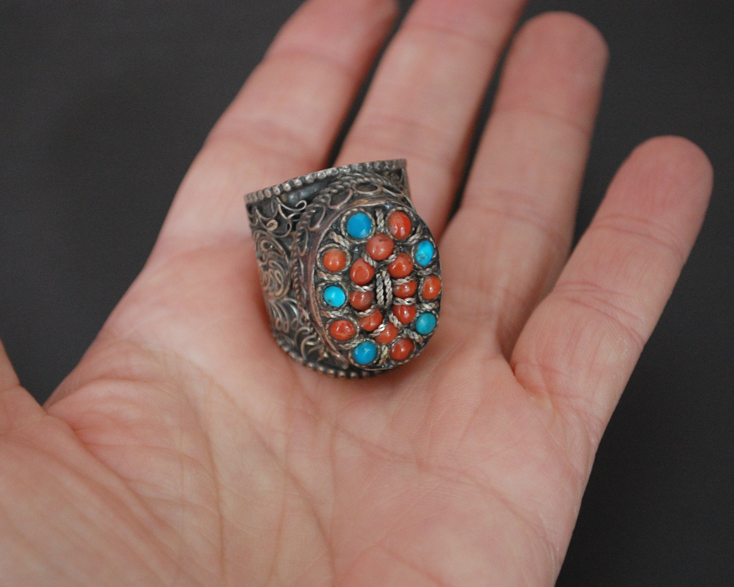 Nepali Turquoise Coral Ring - Size 8.75