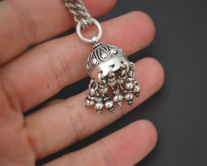 Jhumka Pendant on Silver Chain - Necklace