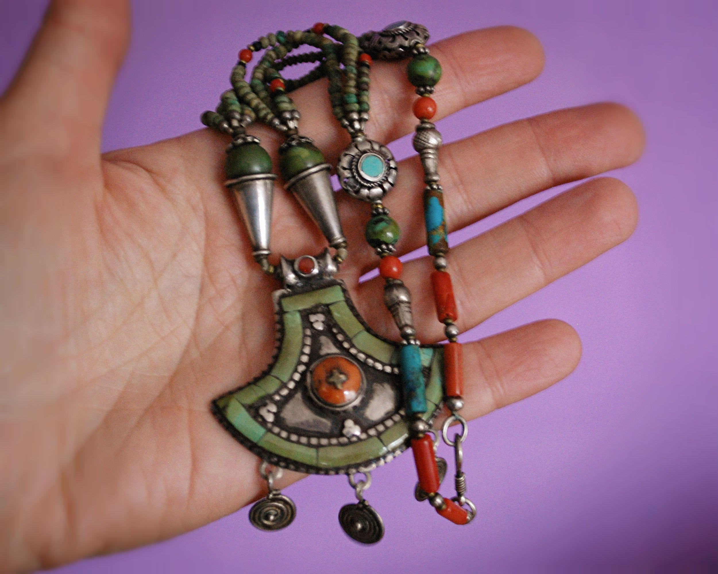 Vintage Nepali Coral Turquoise Necklace