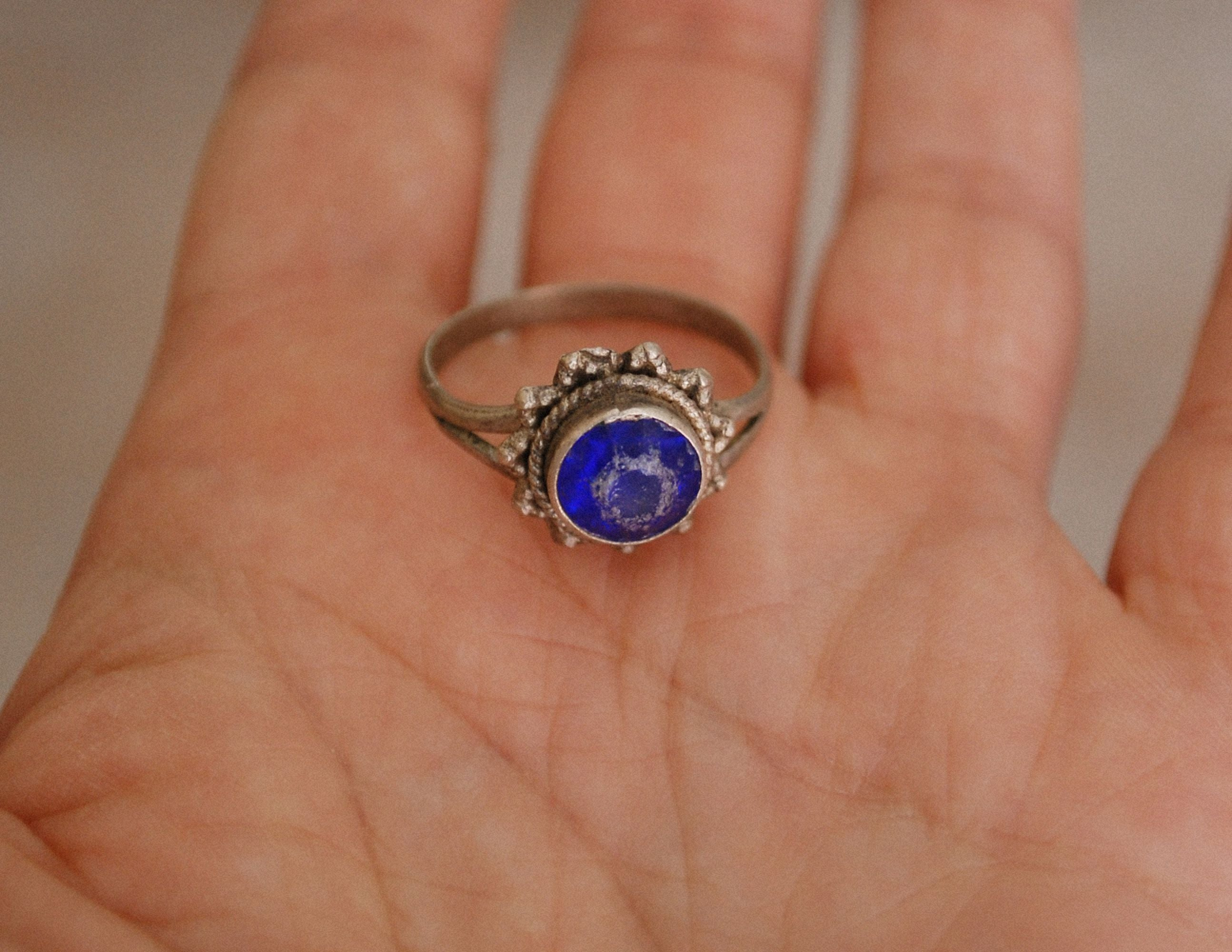 Ethnic Blue Glass Ring from India - Size 8.5