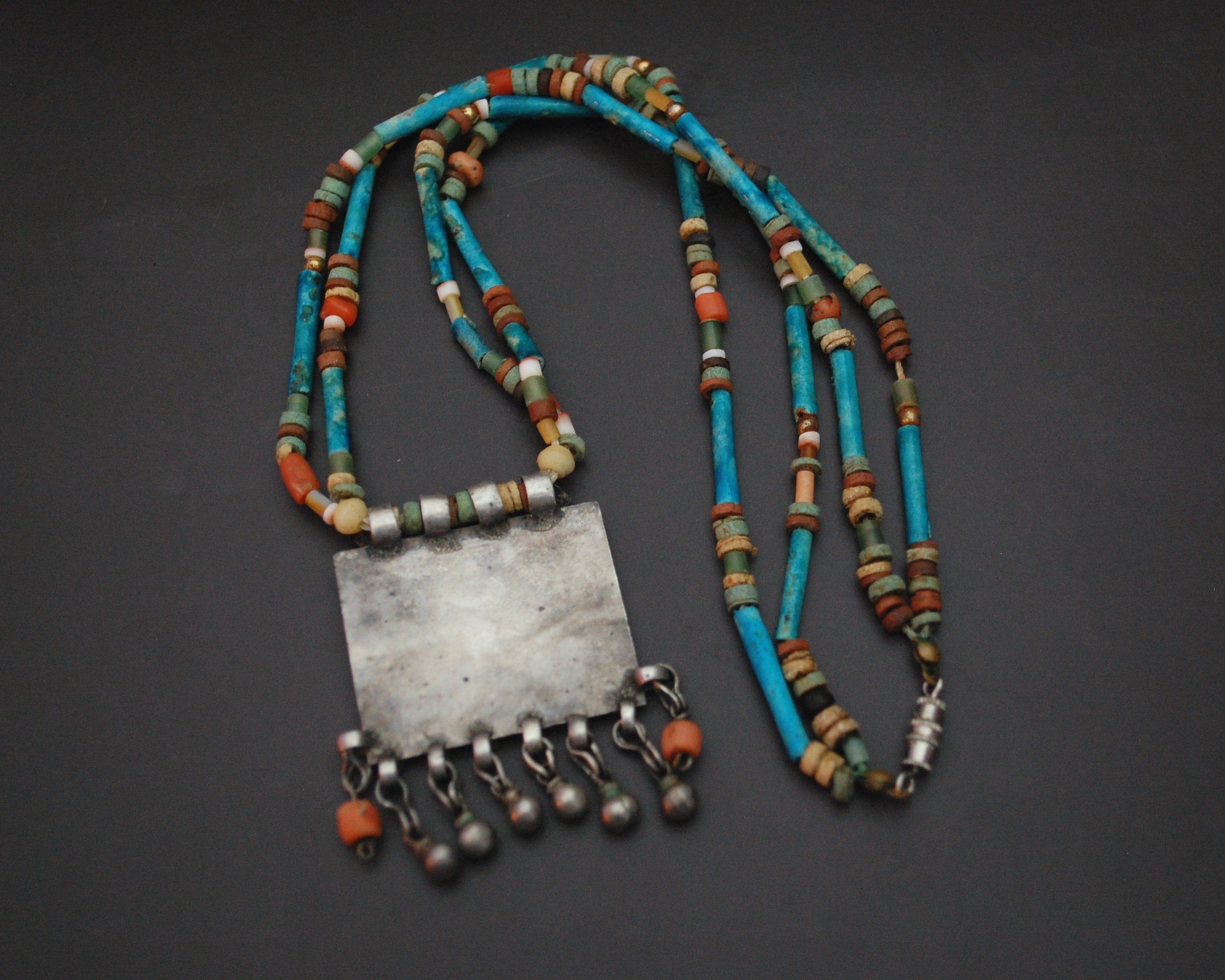 Antique Afghani Pendant and Faience Beads Necklace