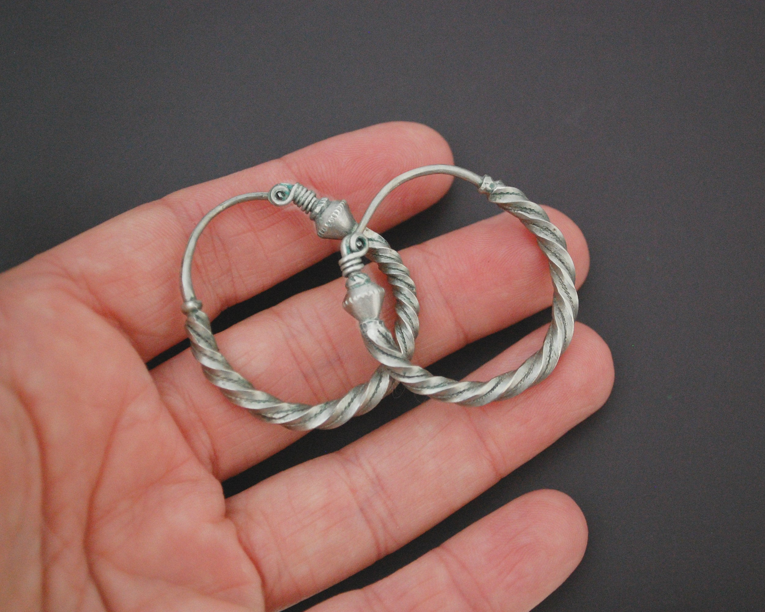 Egyptian Silver Hoop Earrings - Twisted