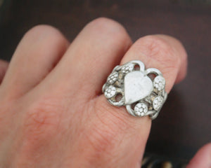 Old Rajasthani Heart Ring - Size 6.5