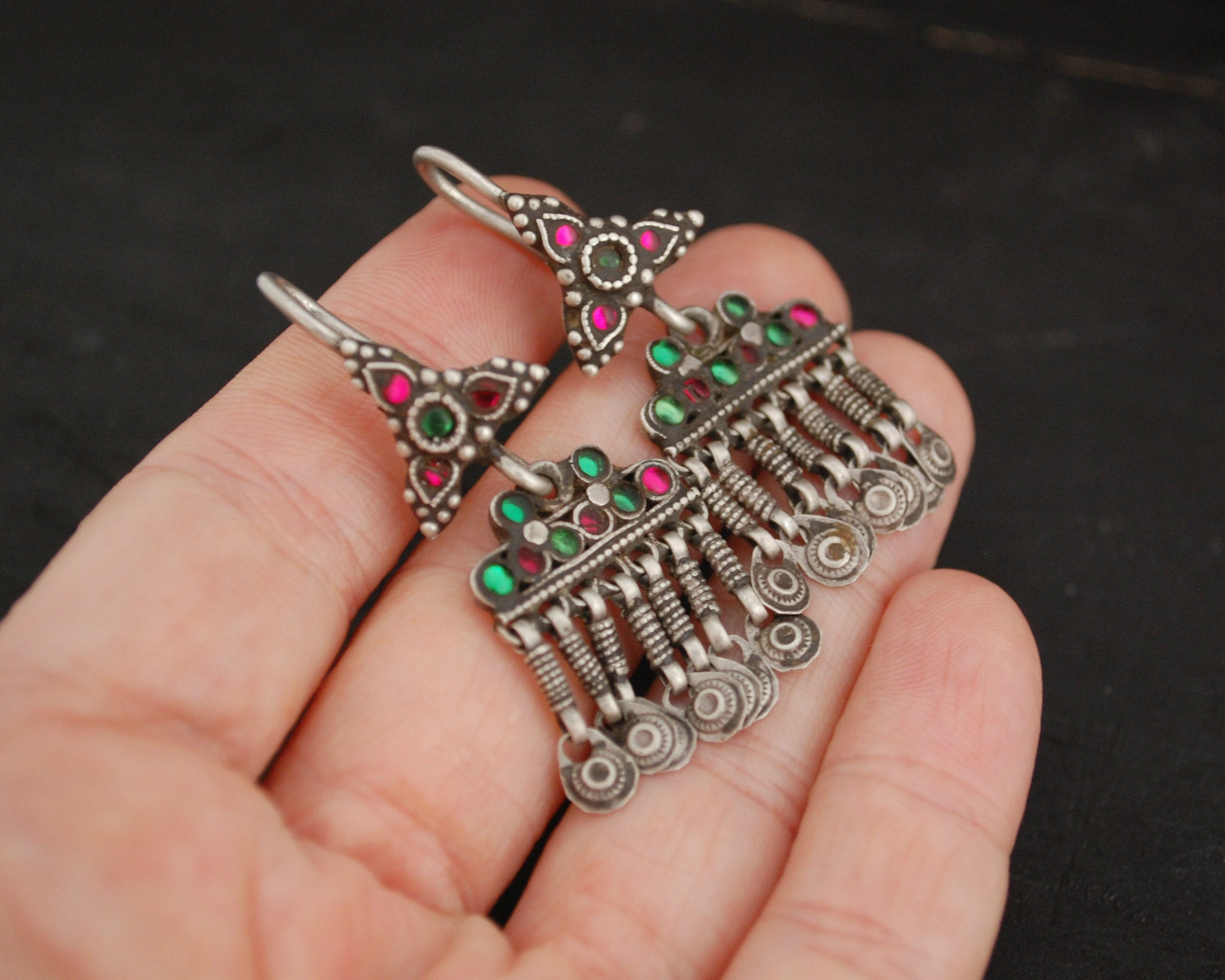 Afghani Earrings with Pink and Green Glass