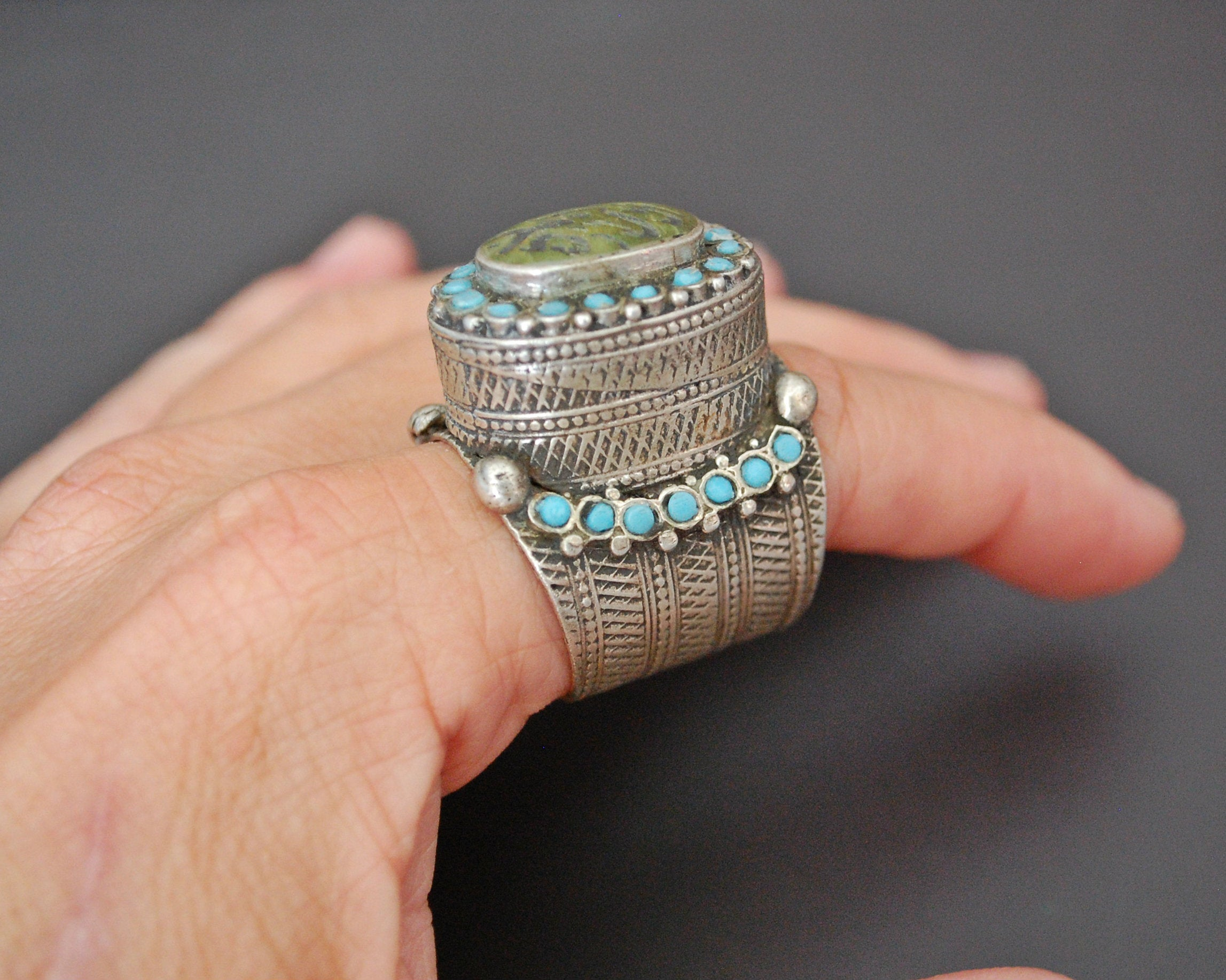 Antique Turkmen Ring with Turquoises - Size 9 / 9.5