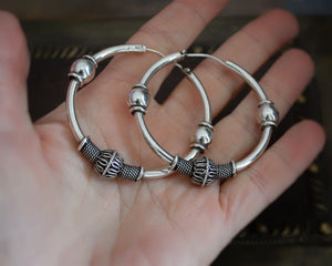 Large Bali Hoop Earrings with Silver Beads