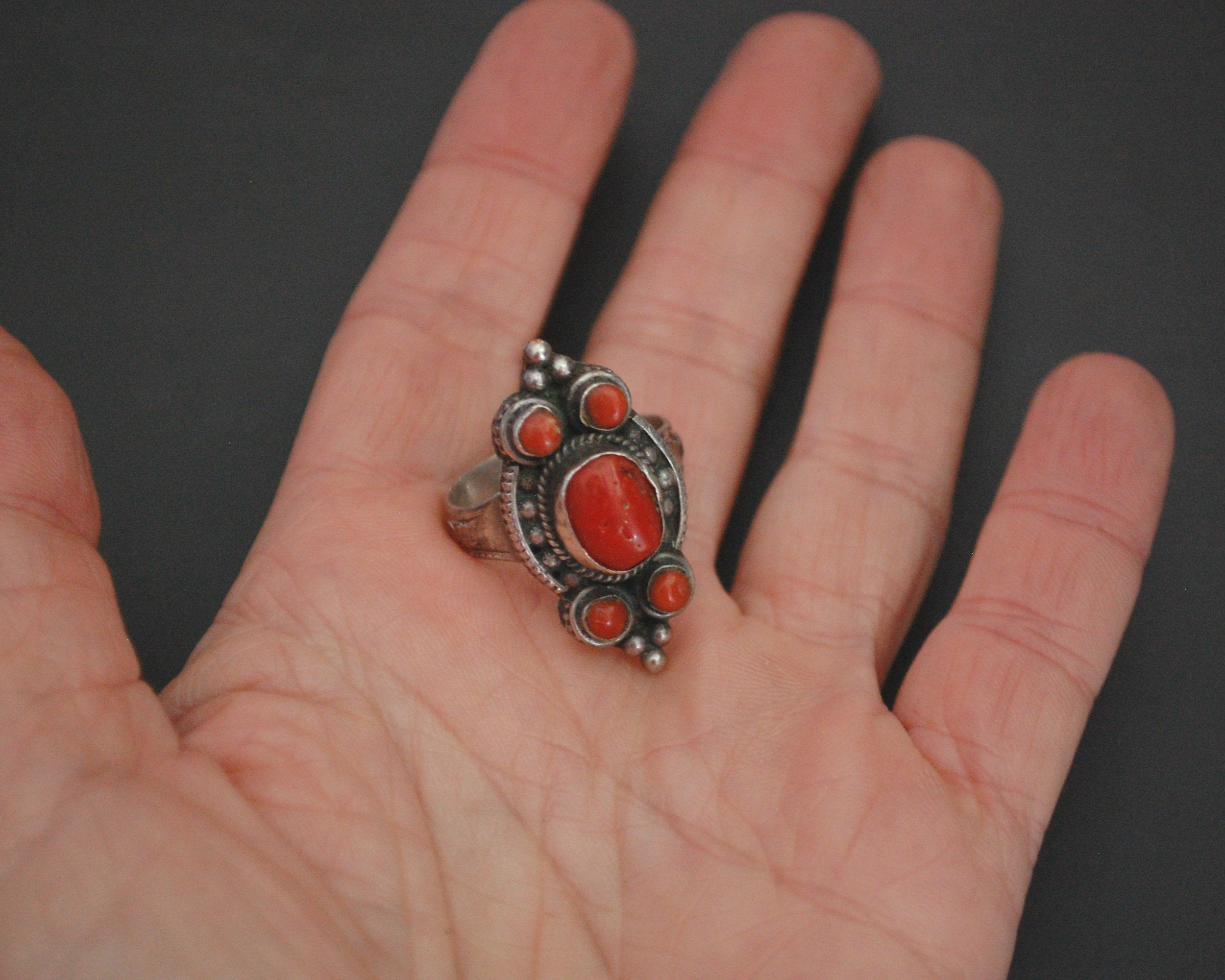 Vintage Nepali Coral Ring - Size 9.25