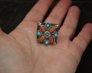 Coral Turquoise Ring from Ladakh