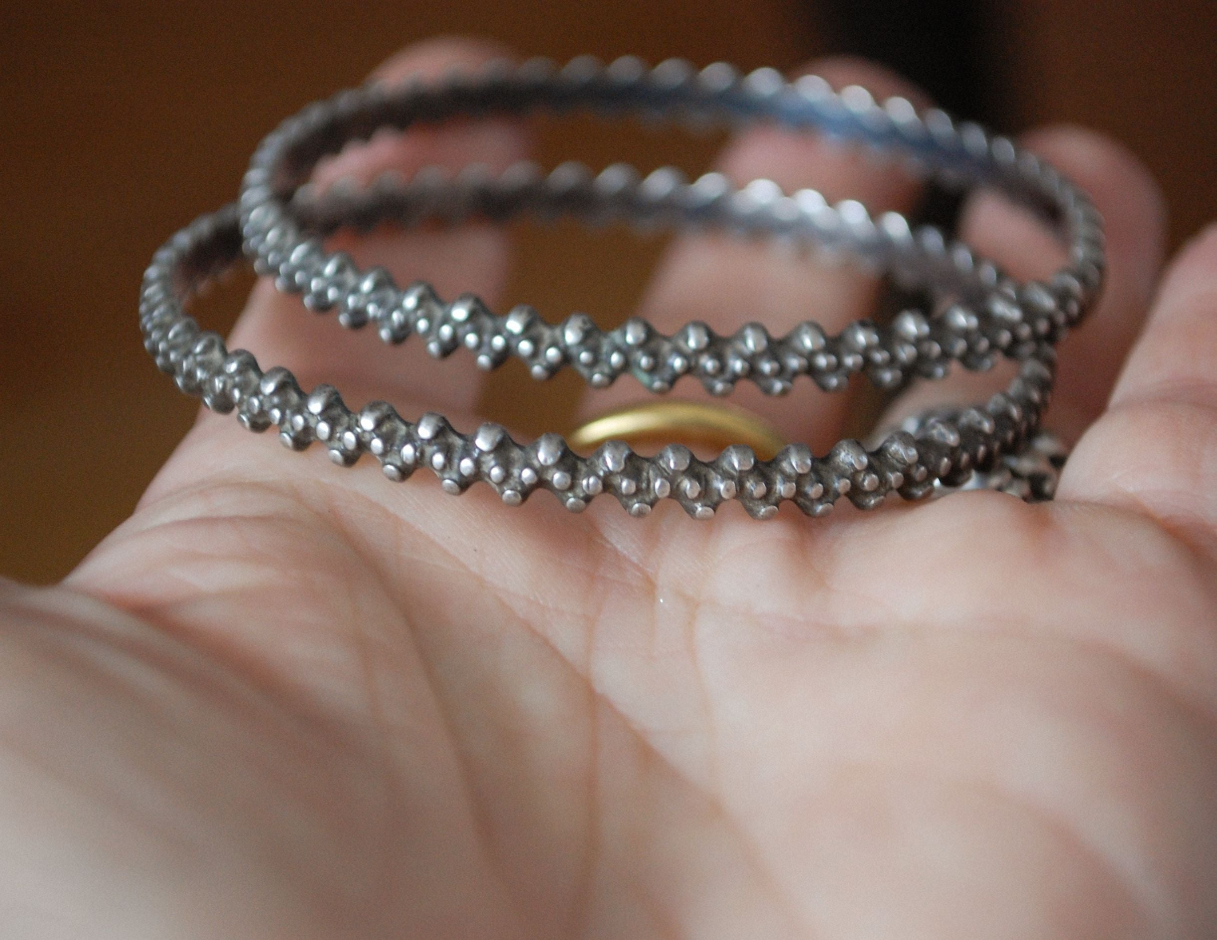 Pair of Rajasthani Silver Bracelets - SMALL