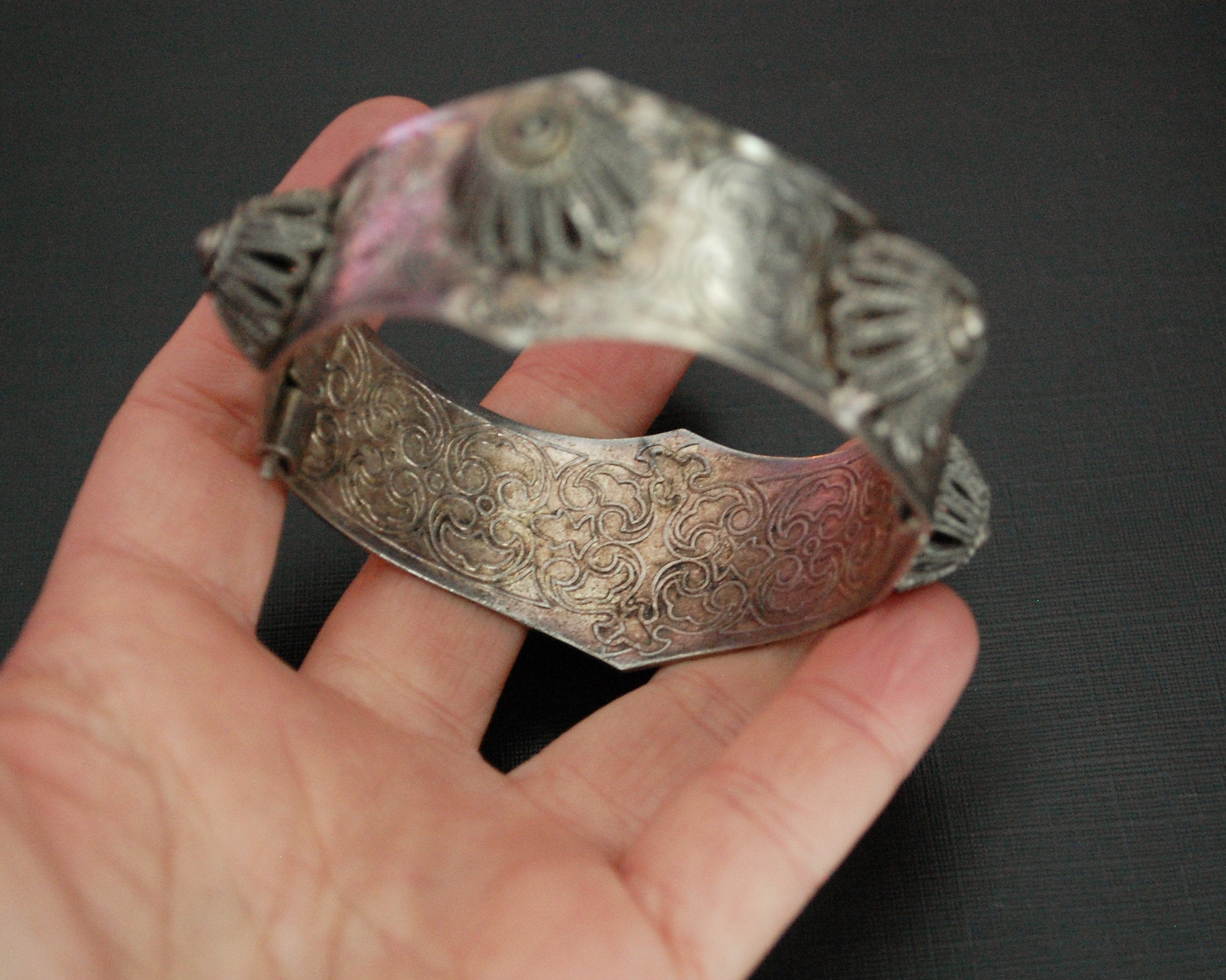 Ethnic Berber Filigree Hinged Bracelet