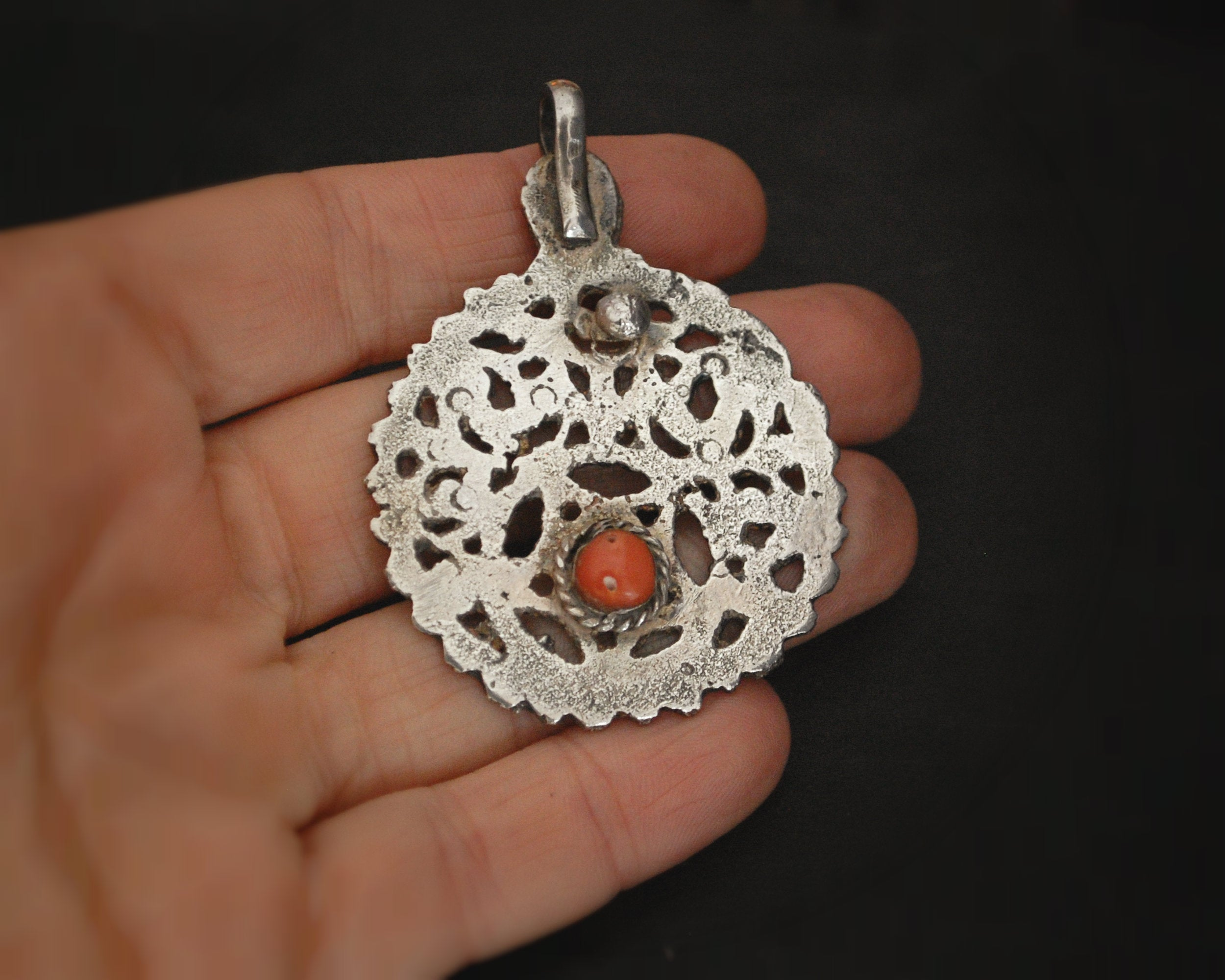 Antique Tunisian Hamsa Pendant with Coral