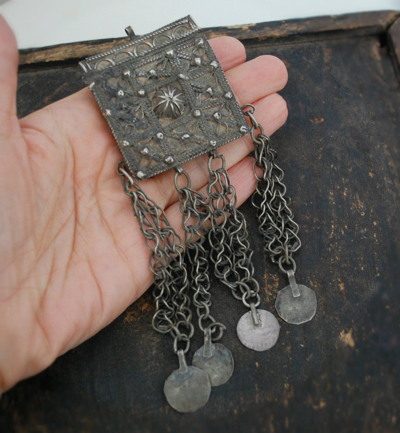 Old Moroccan Hirz Box Pendant with Coins
