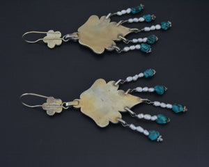 Long Gilded Uzbek Turquoise Pearl Earrings