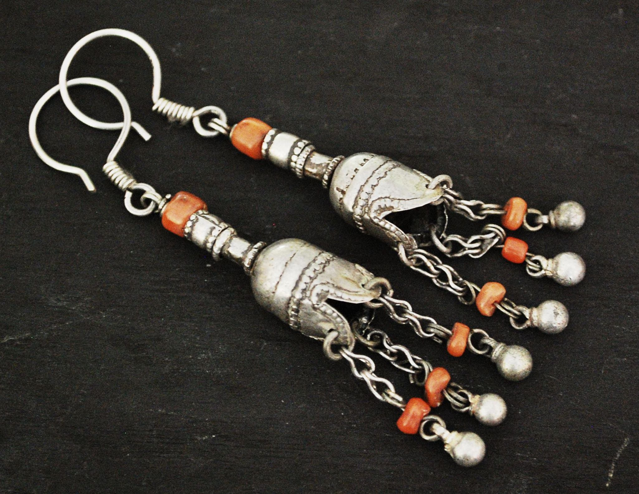 Uzbek Bukhara Coral Earrings