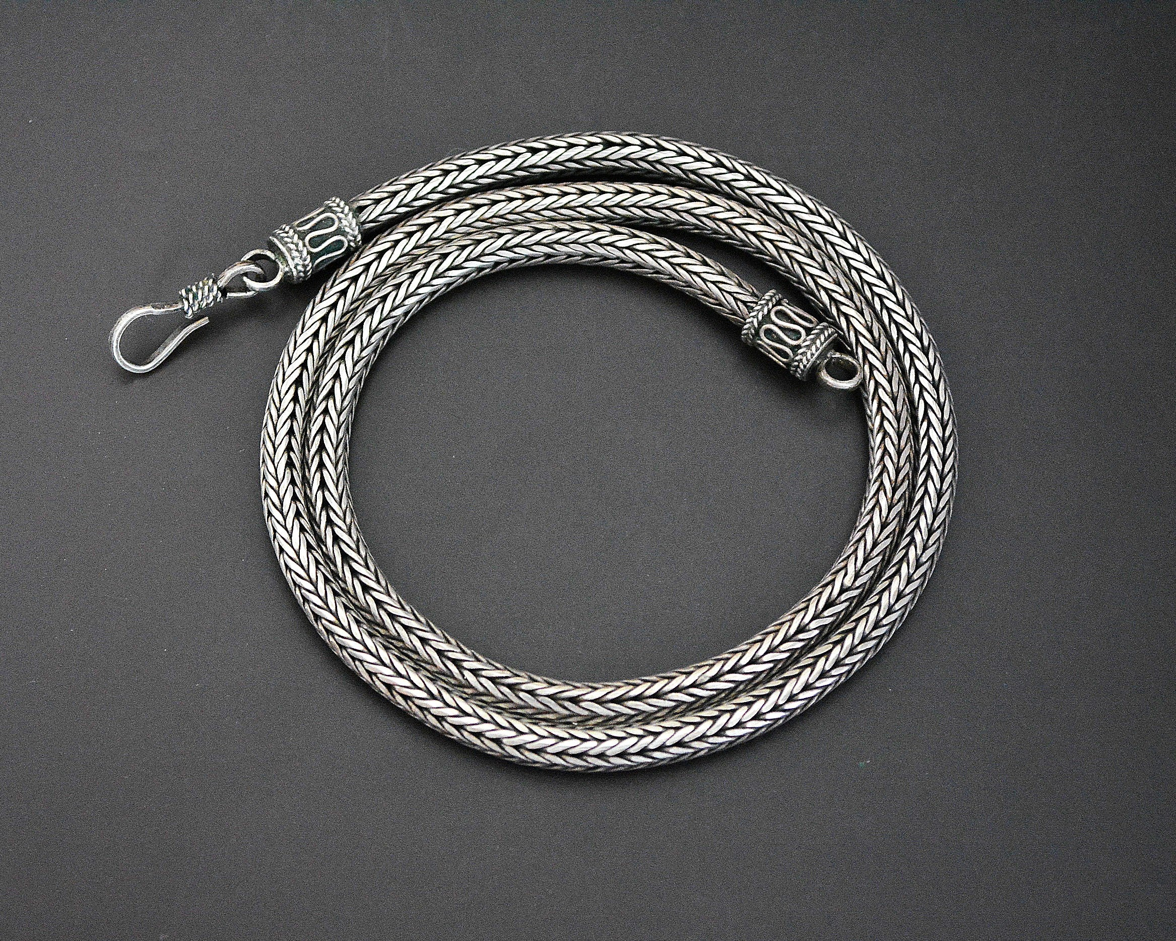 Bali Braided Snake Chain Necklace - Sterling Silver
