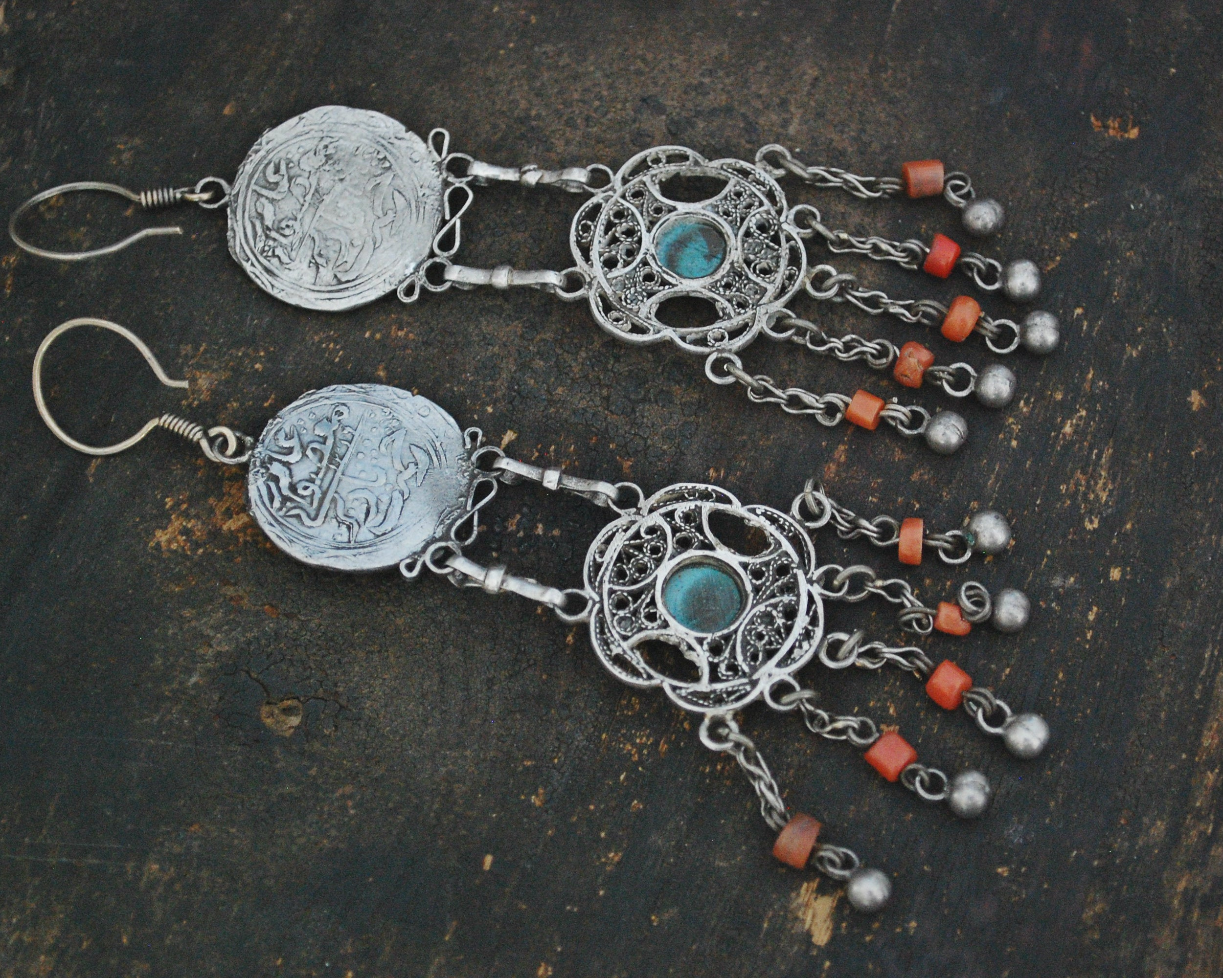 Long Uzbek Coral Turquoise Filigree Earrings