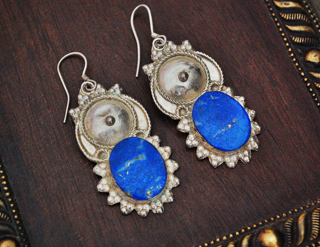 Ethnic Lapis Lazuli Earrings from India