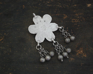 Antique Afghani Flower Pendant with Bells