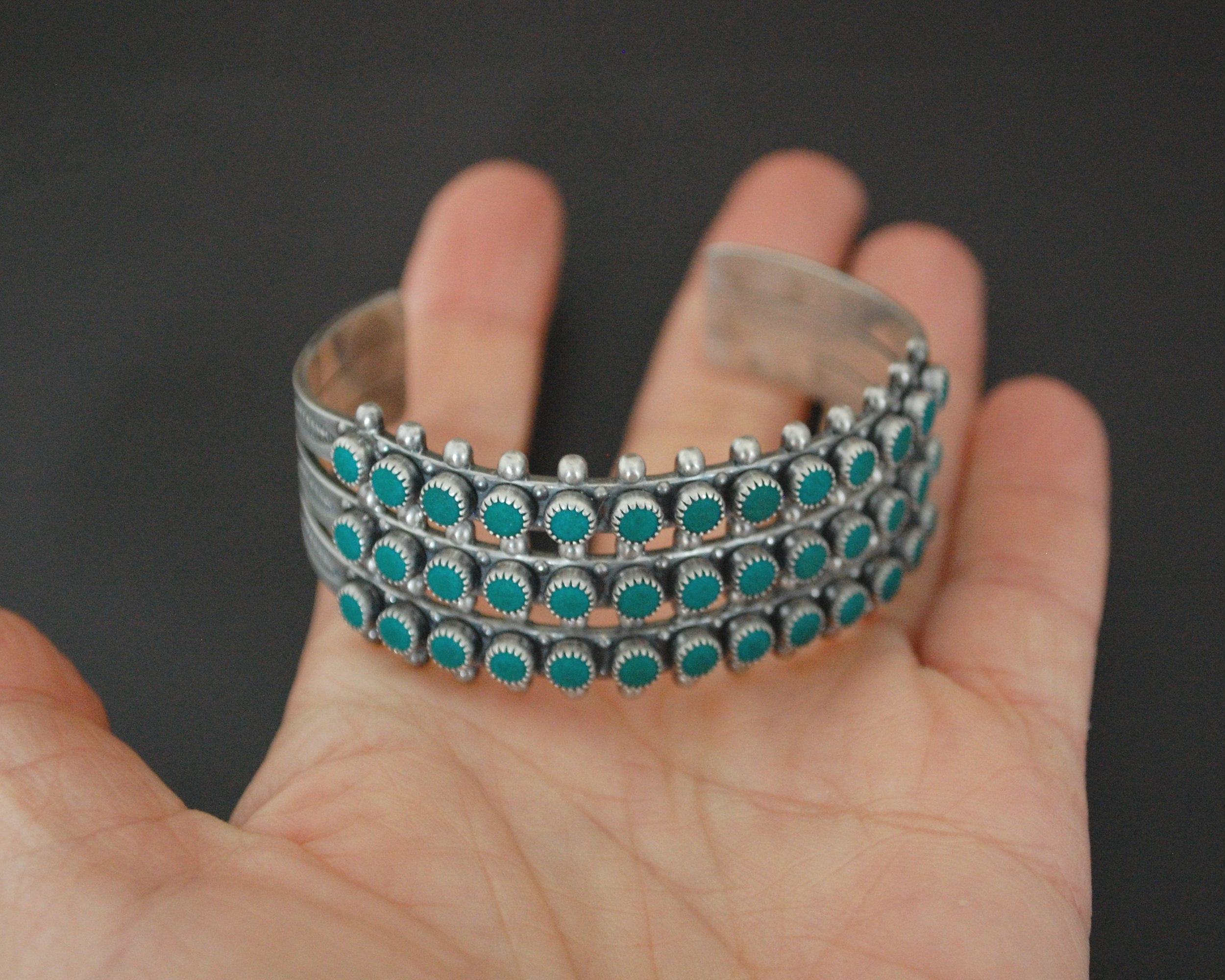 Native American Multirow Petit Point Turquoise Cuff Bracelet with Stampings