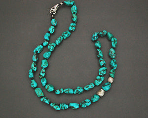Knotted Turquoise Nugget Necklace with Silver Beads