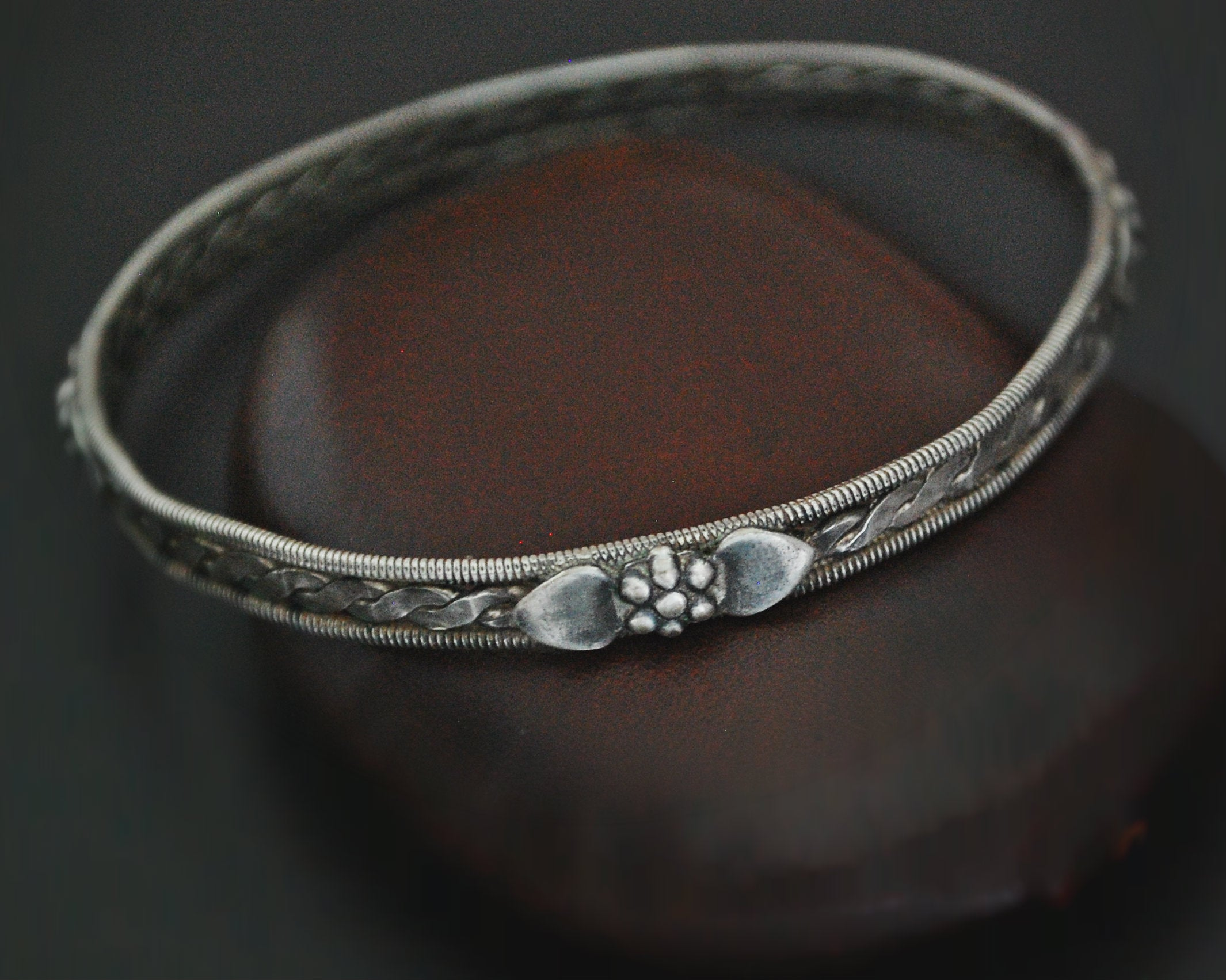 Rajasthani Silver Bangle Bracelet with Flowers - SMALL/MEDIUM