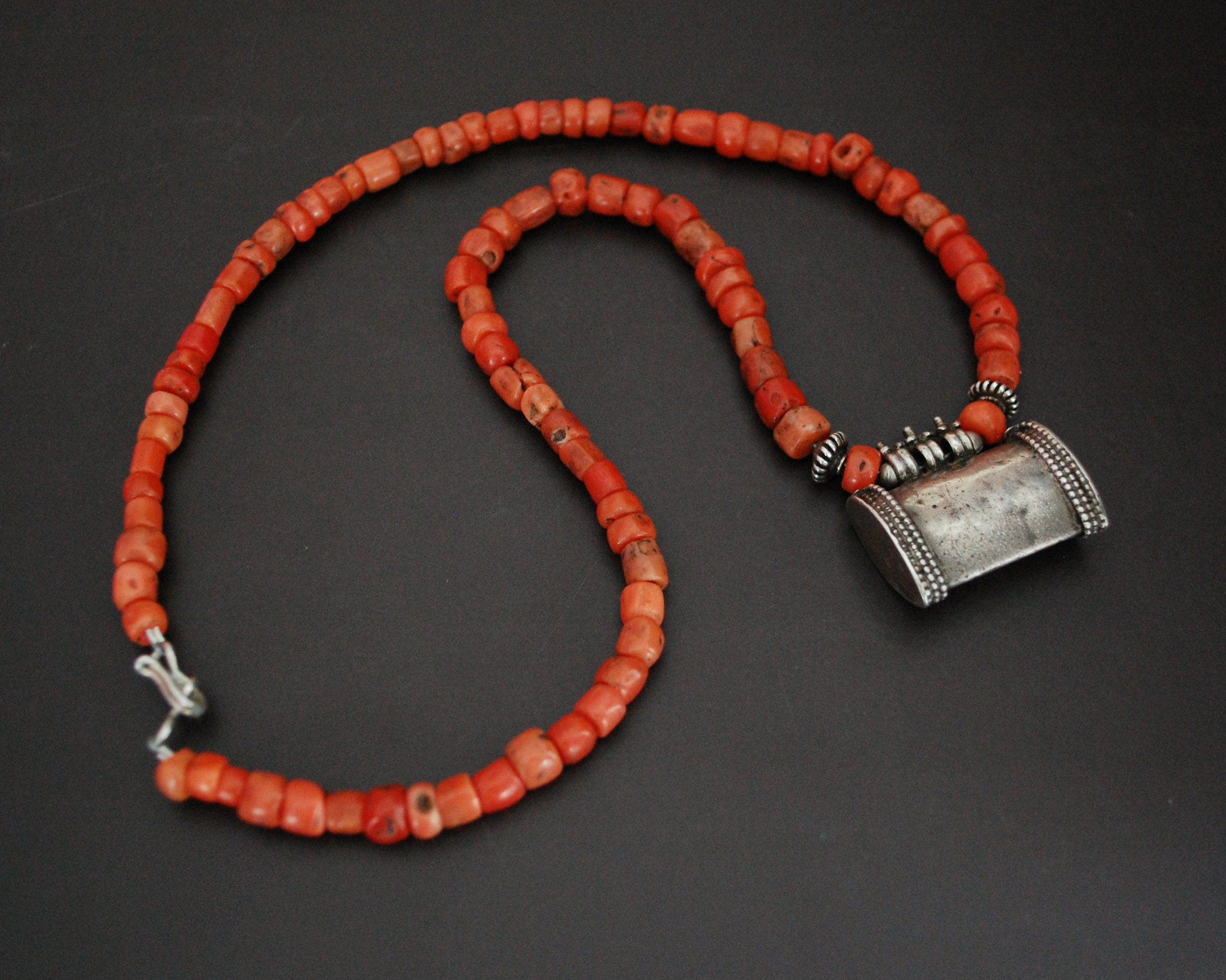 Old Yemeni Coral Silver Amulet Pendant Necklace