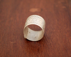 Antique Afghani Band Ring  with Glass Stones - Size 6.5
