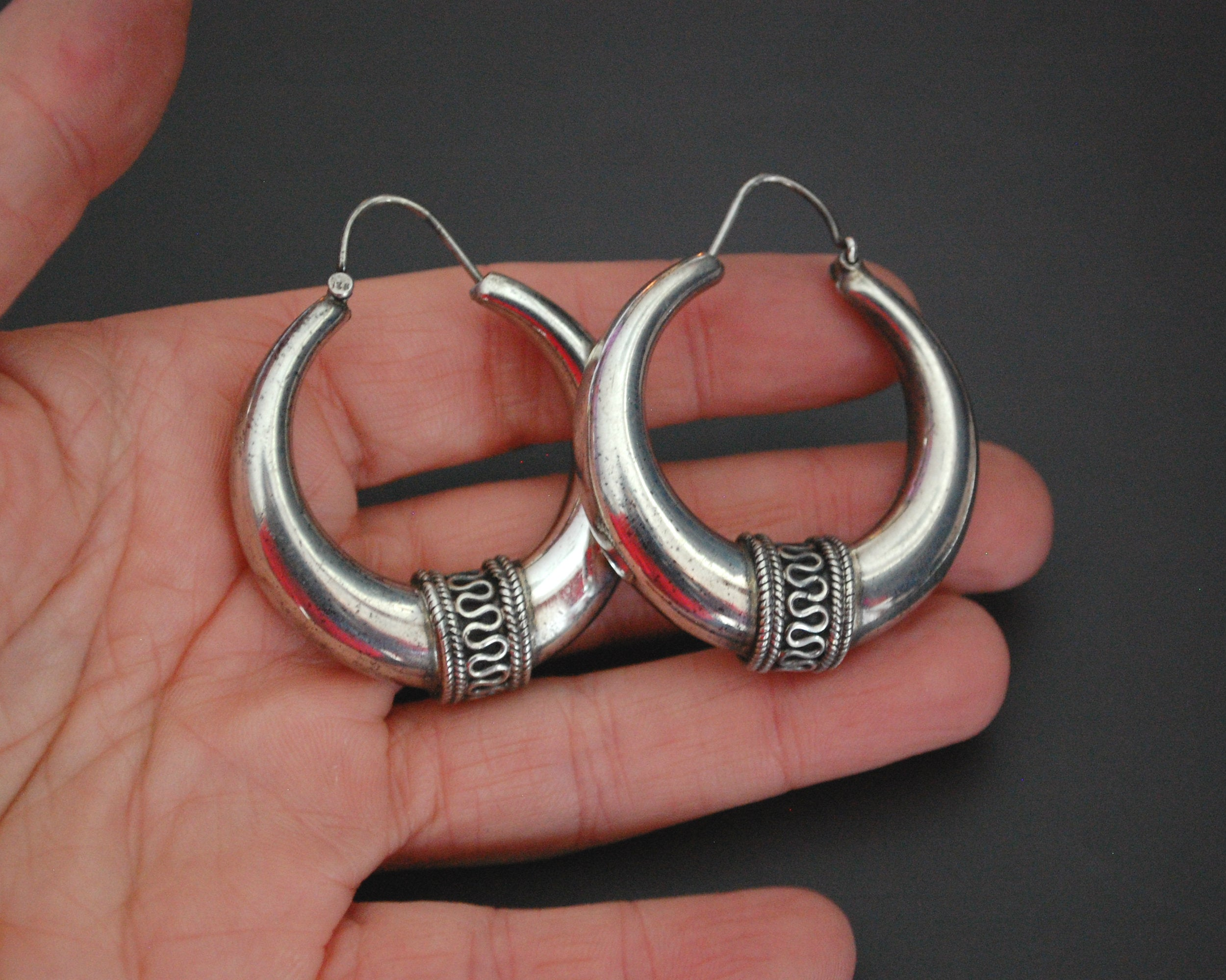 Ethnic Sterling Silver Hoop Earrings - MEDIUM / LARGE