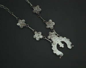 Delicate Native American Squash Blossom Link Necklace