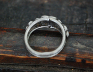 Old Indian Silver Tribal Ring - Size 9.5