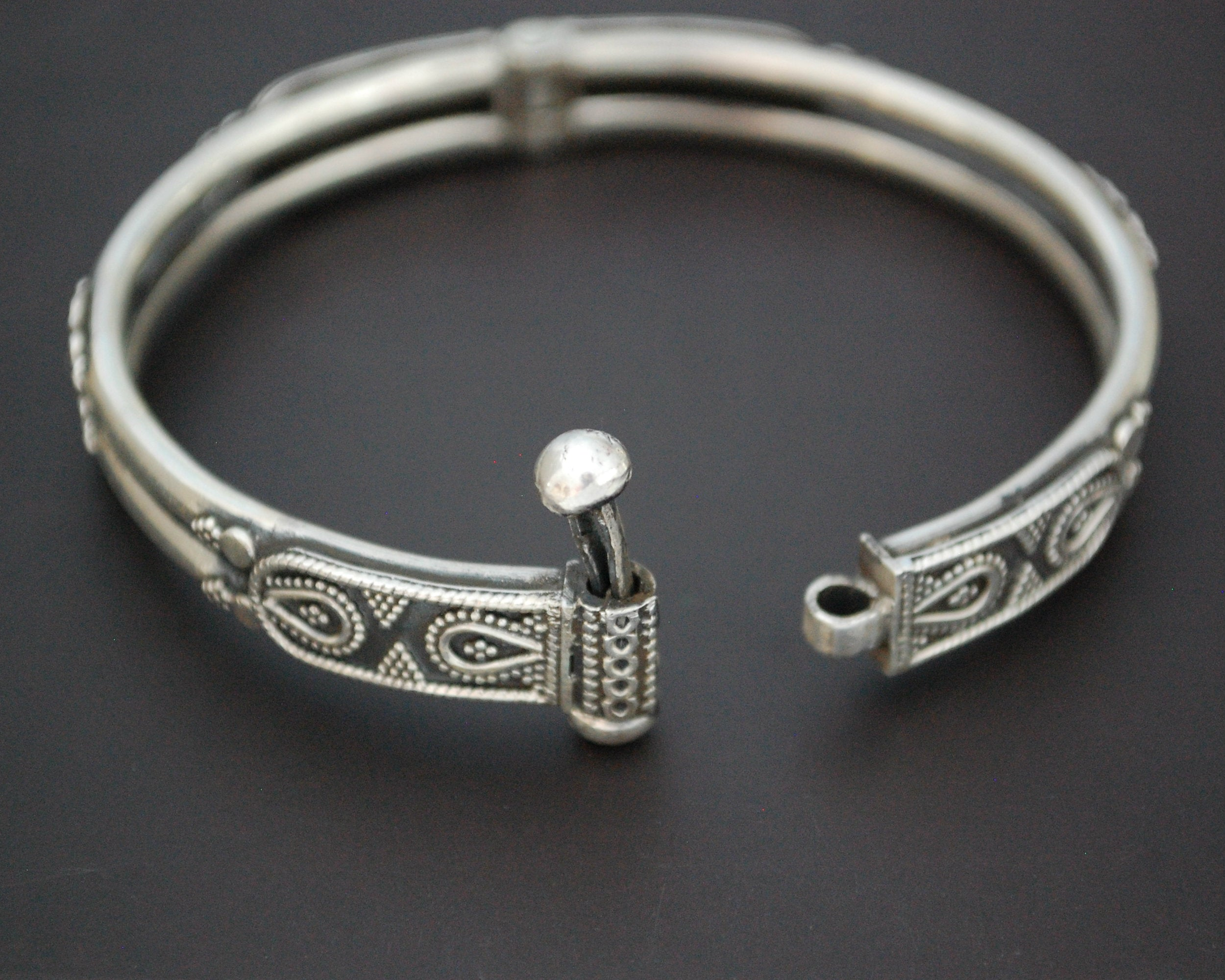 Indian Silver Bracelet - Double Row