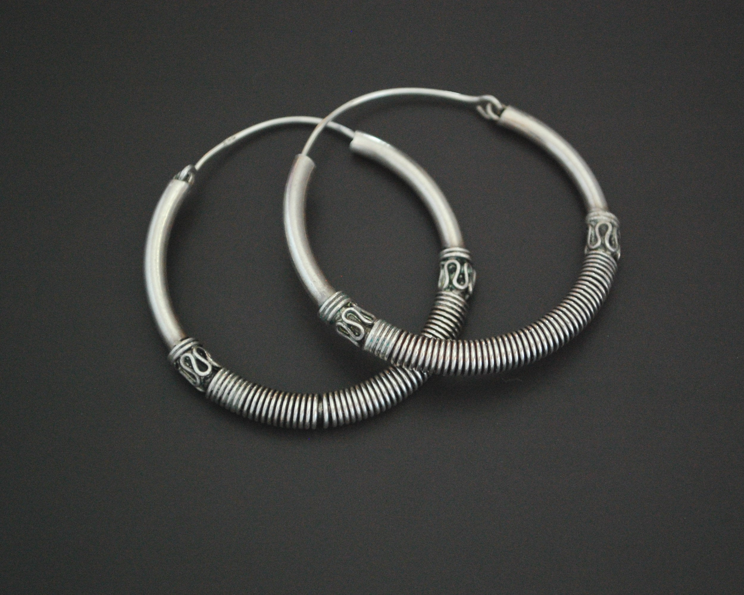 Large Ethnic Bali Hoop Earrings with Wire Work