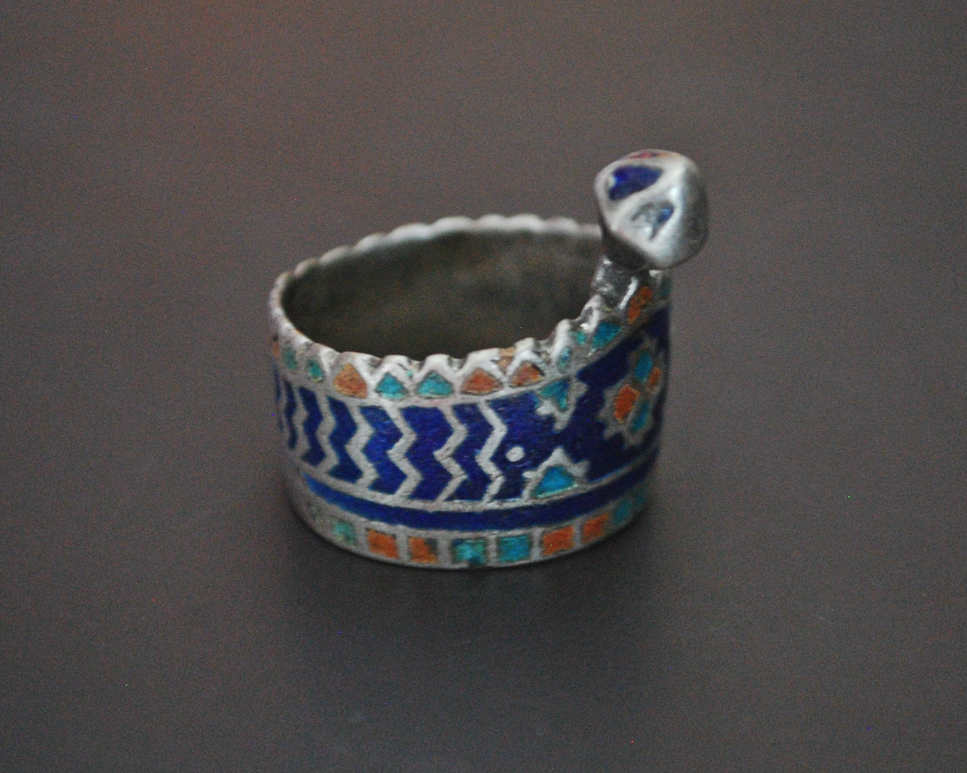 Multan Enamelled Thumb Ring - Size 9