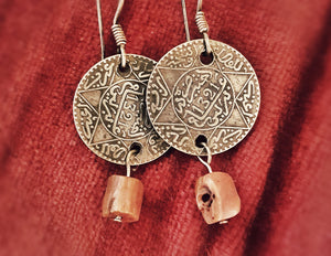 Old Berber Coin Earrings with Coral