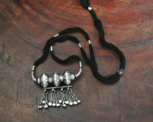 Tribal Gujarati Silver Necklace on Cotton Cord