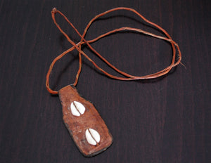 Tuareg Cowrie Shell Leather Amulet Necklace