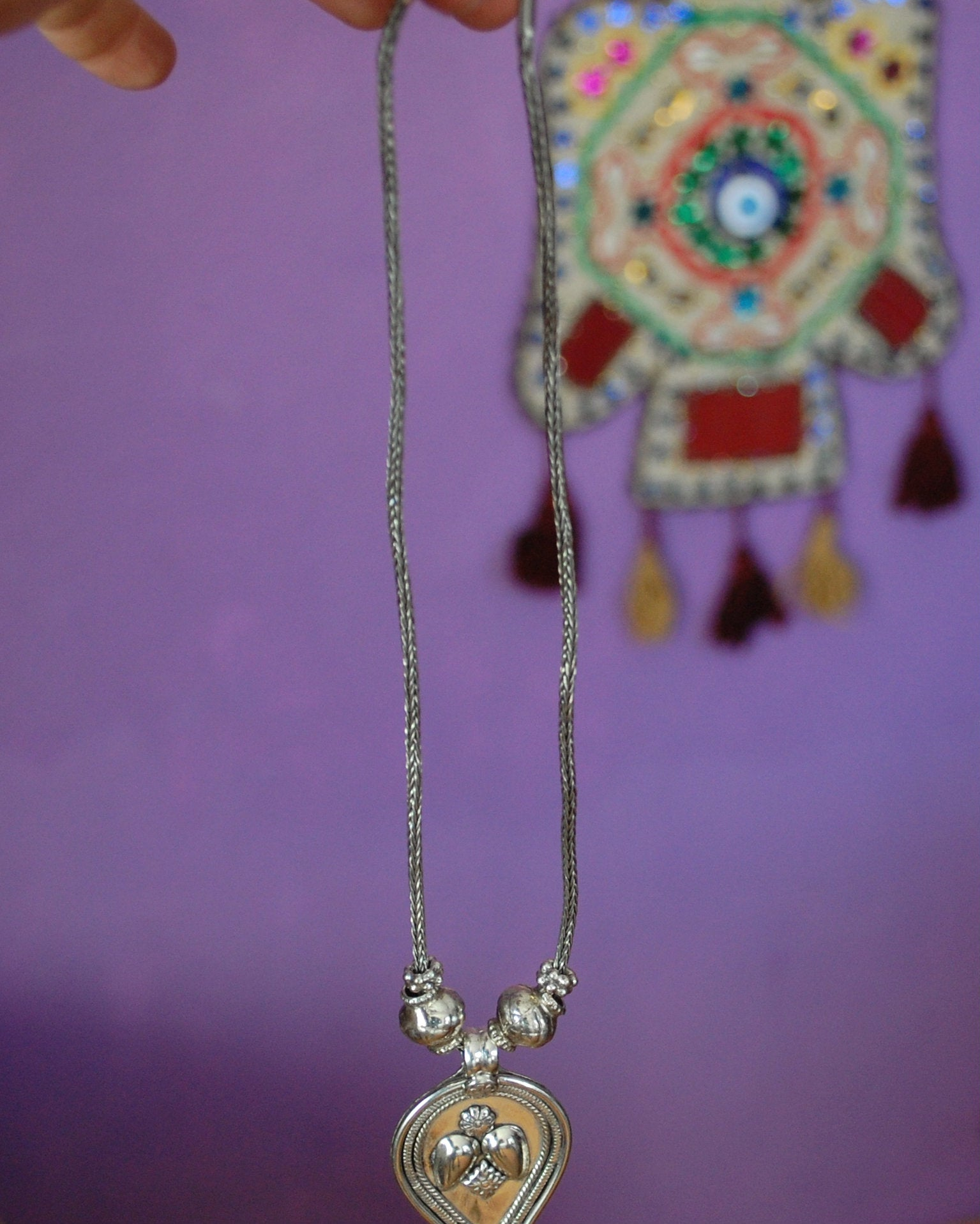 Indian Amulet Pendant on Snake Chain