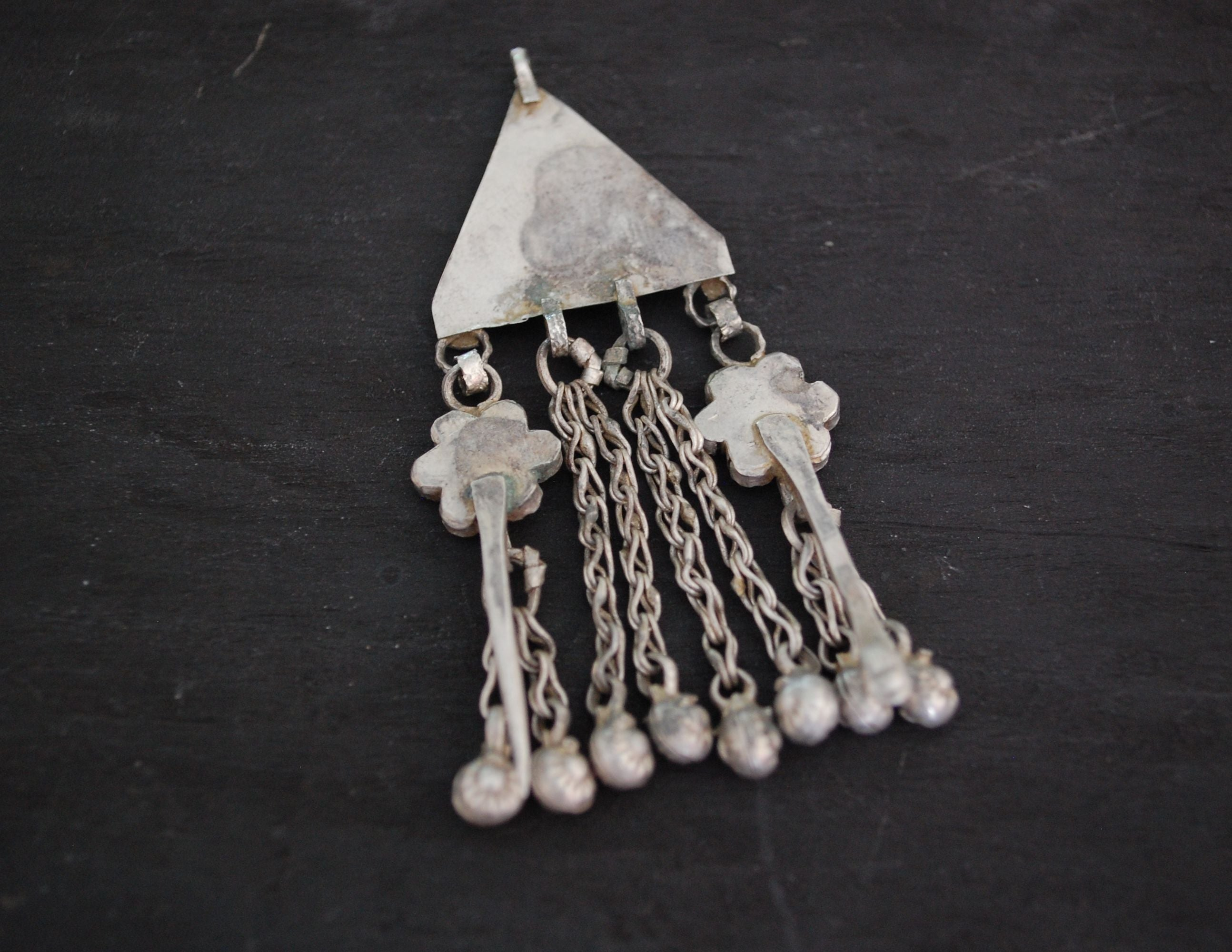 Afghani Silver Pendant with Glass