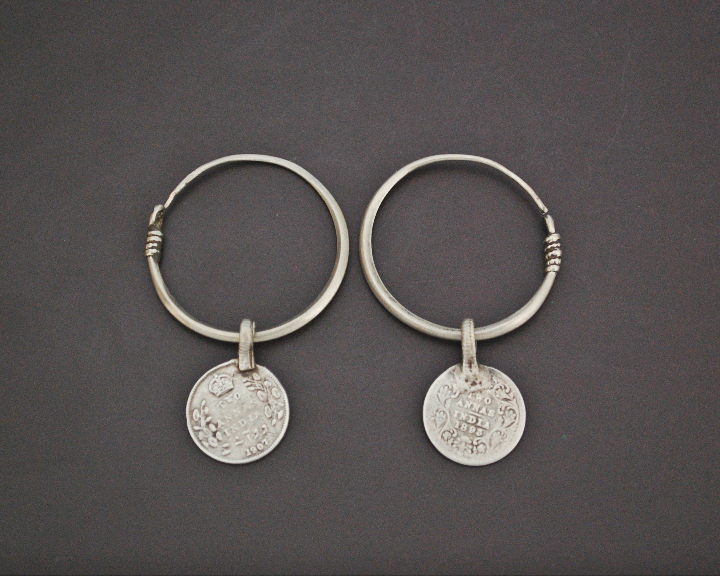 Tribal Indian Hoop Earrings with Coins - MEDIUM