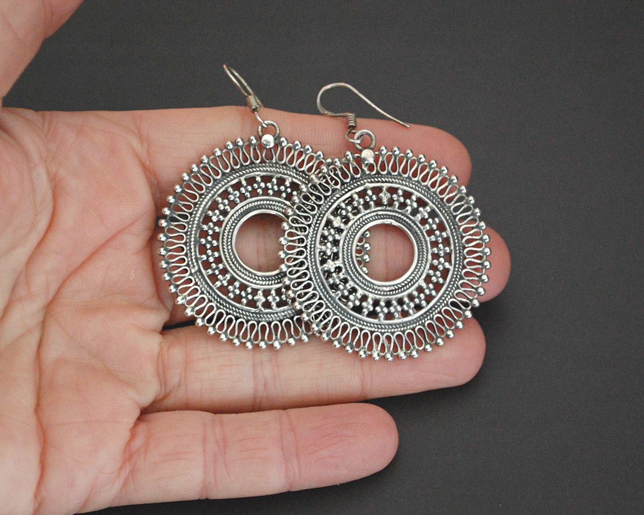 Indian Sterling Silver Mandala Earrings