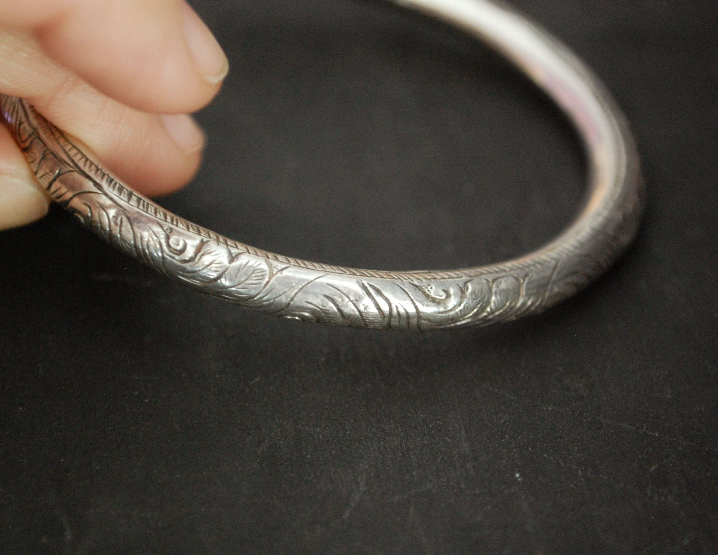 Ethnic Carved Bangle Bracelet from Nepal