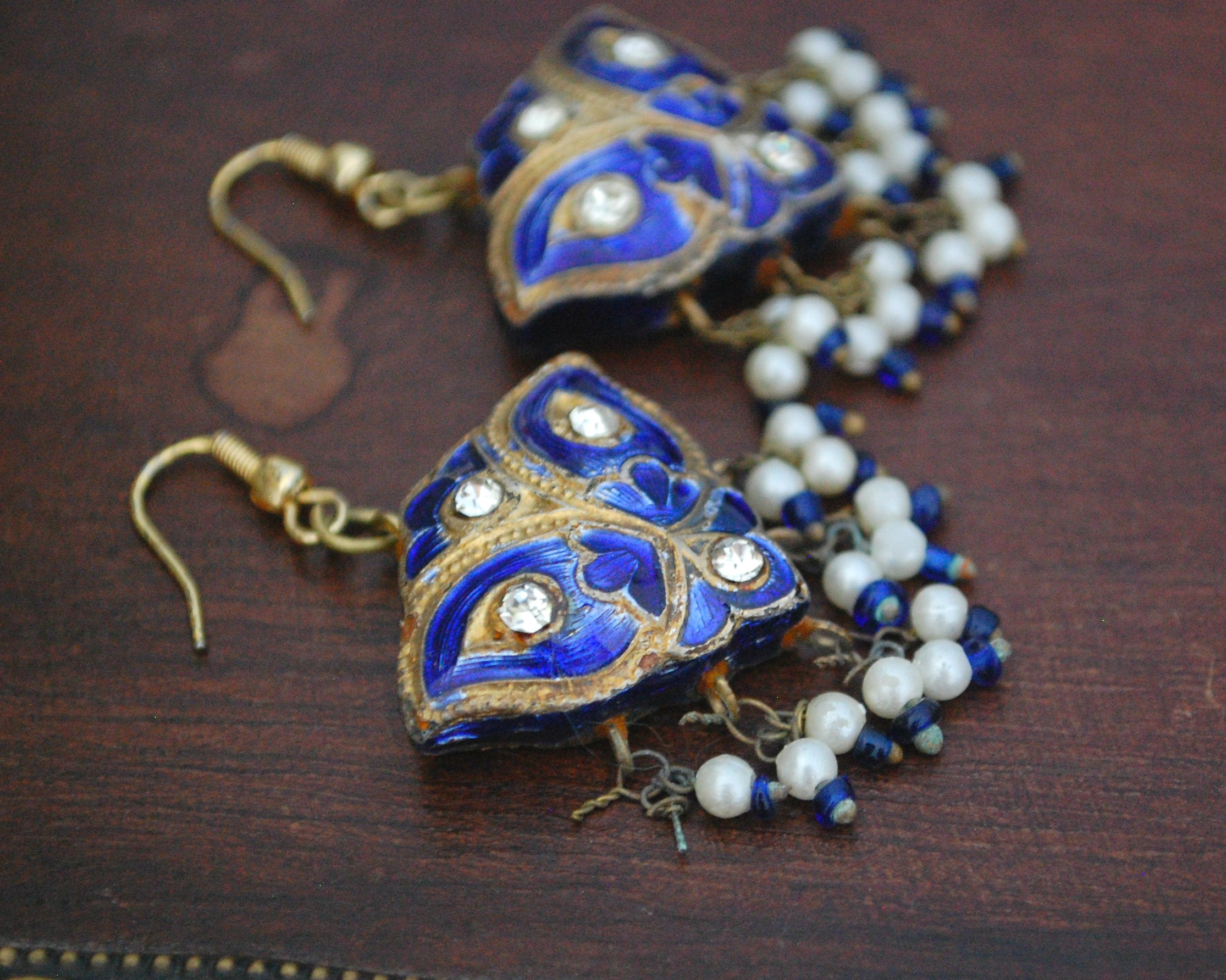 Indian Lacquer Earrings with Blue Enamel