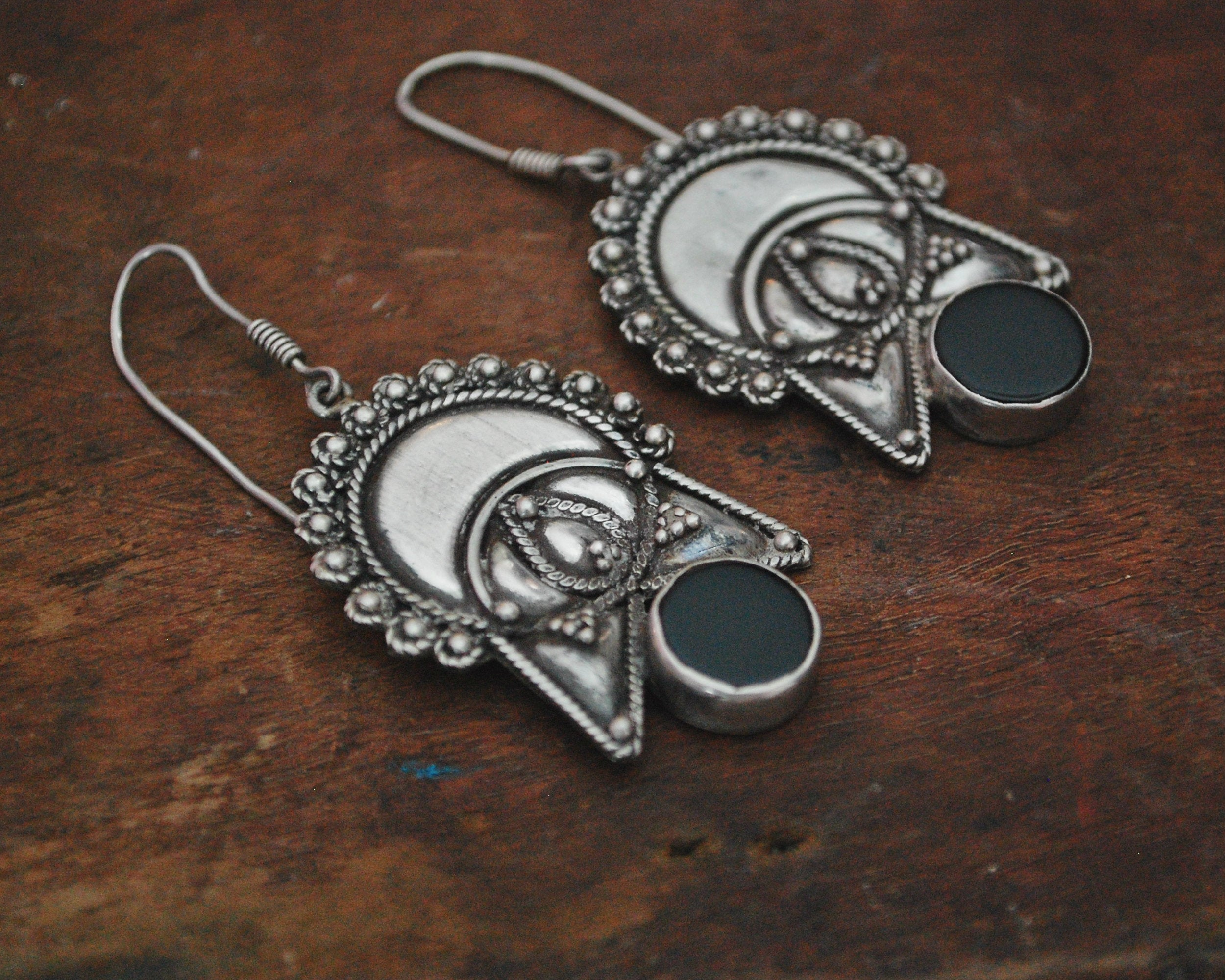 Ethnic Onyx Earrings from India