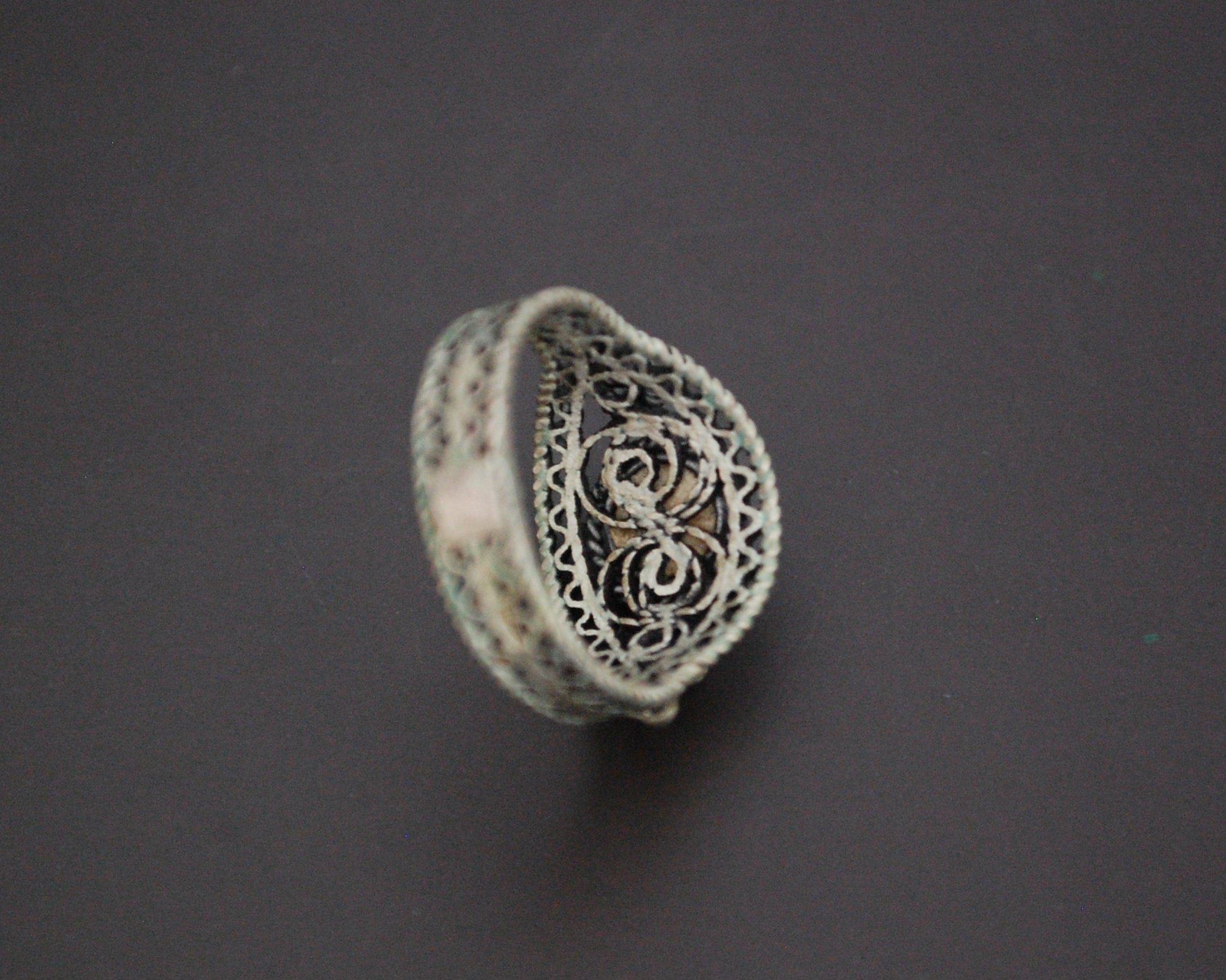 Croatian Coral Filigree Ring - Size 6.5