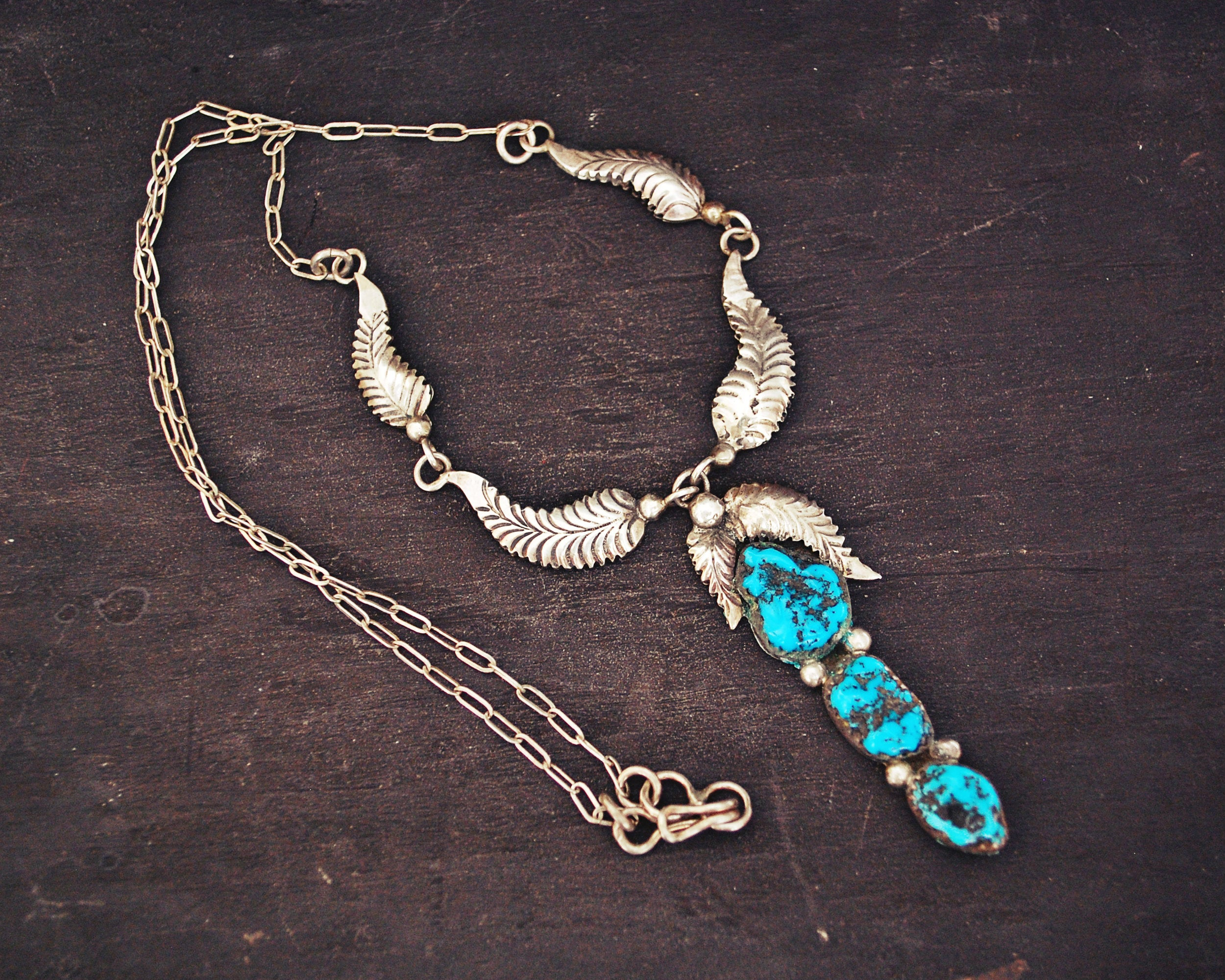 Navajo Turquoise Feather Necklace