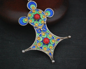 Berber Enamel Cross Pendant on Silver Chain