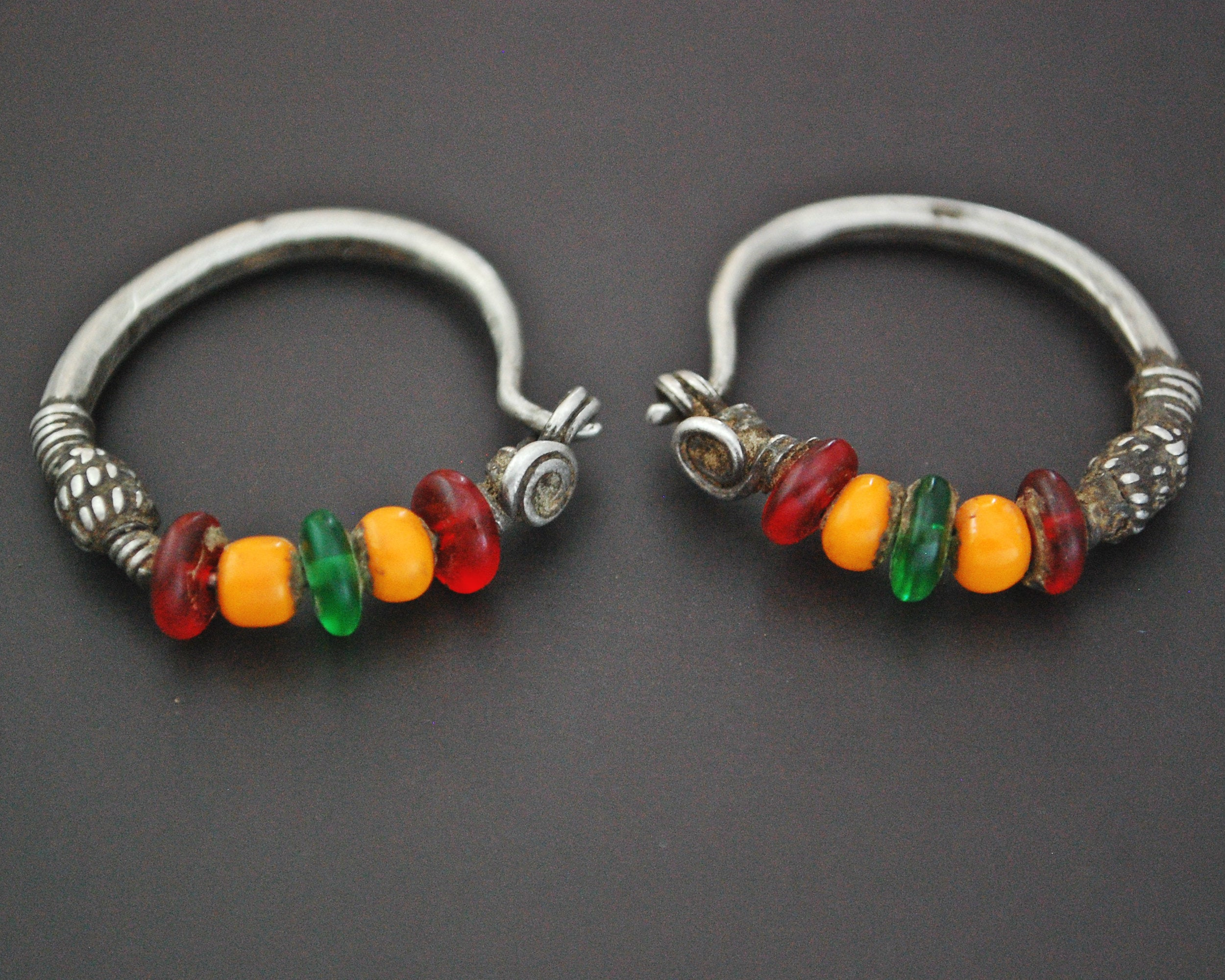 Tribal Indian Hoop Earrings with Colorful Beads