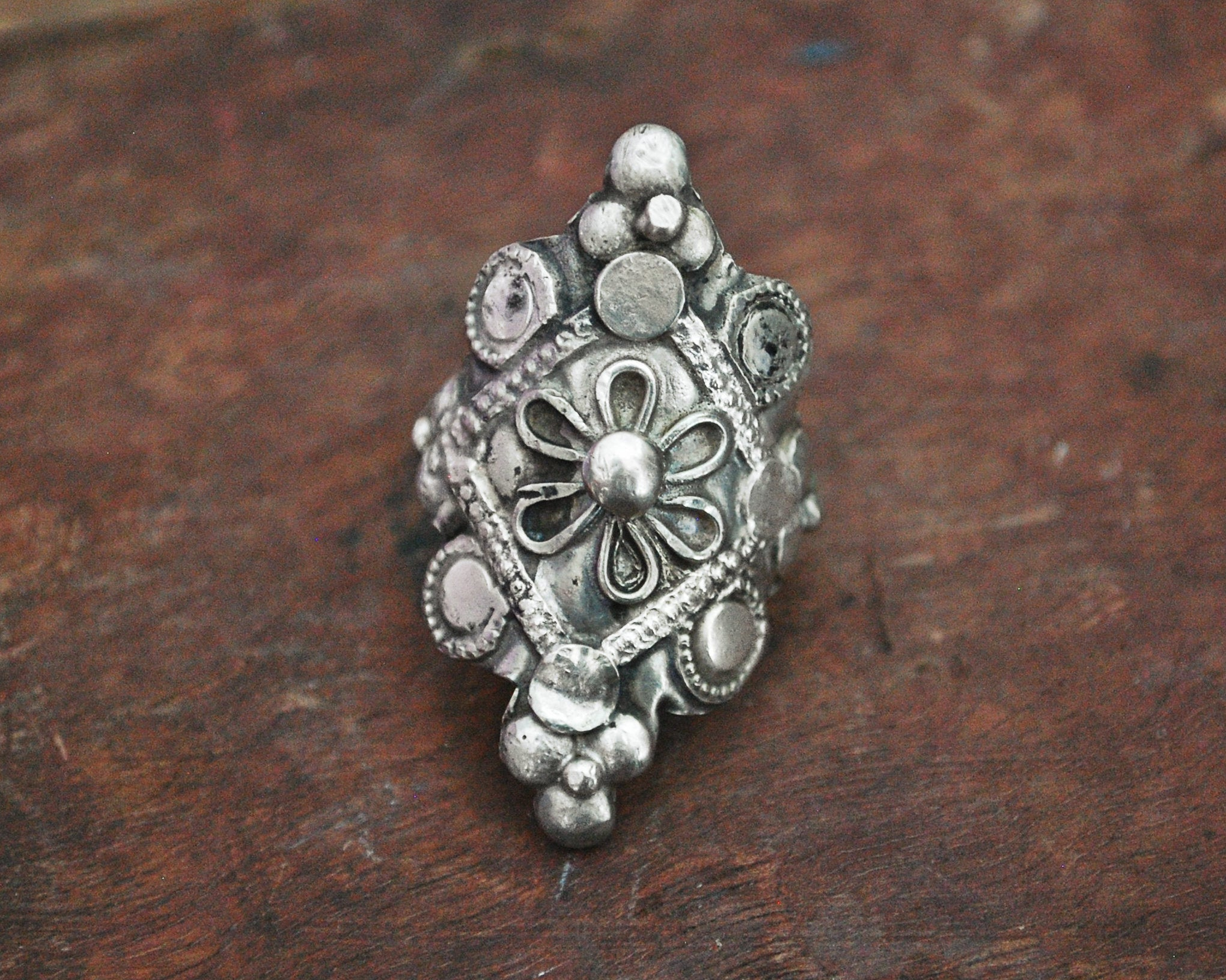 Tribal Afghani Silver Ring - Size 7.25