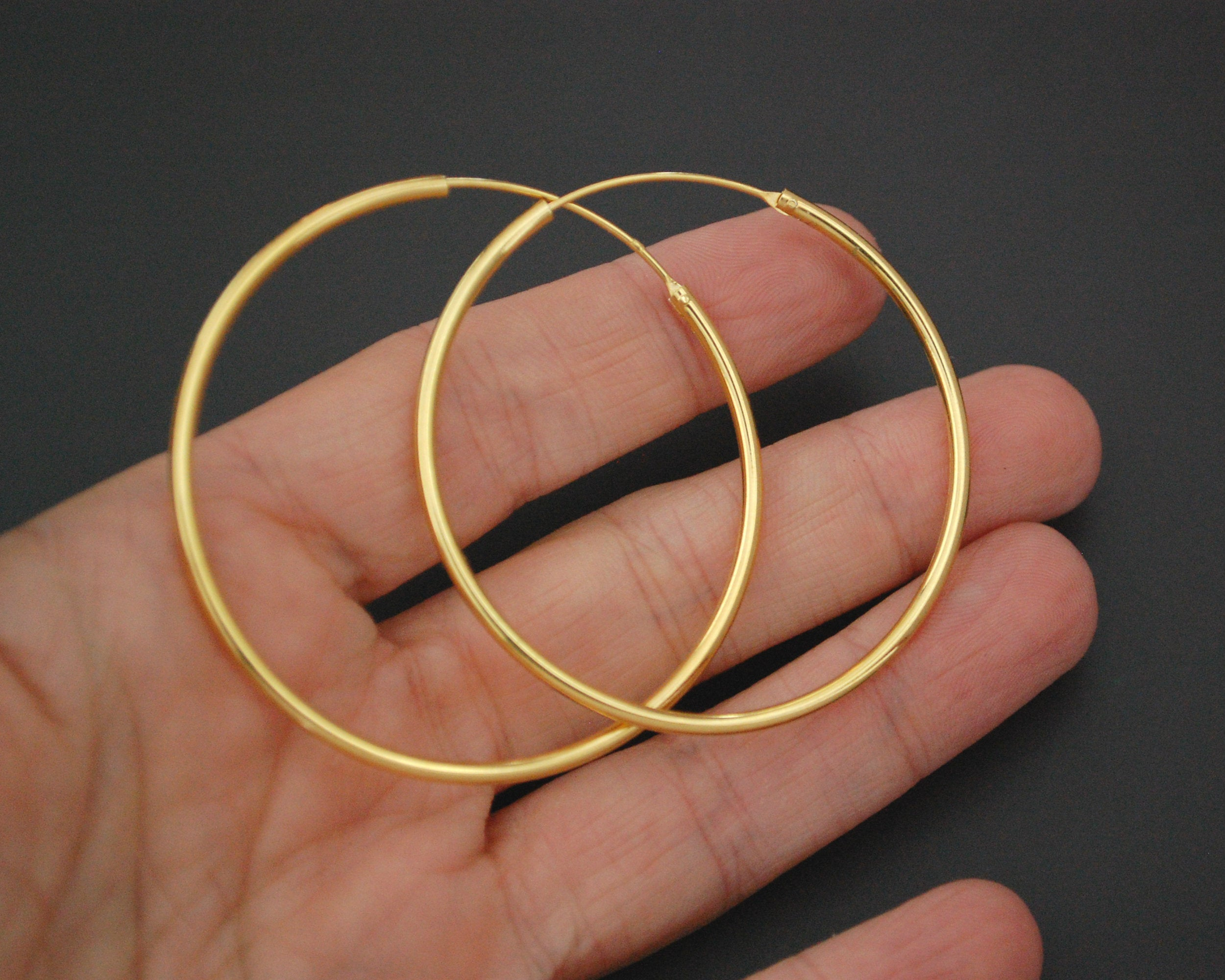 Large Gilded Hoop Earrings